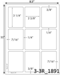 2 3/8 x 3 1/4 Rectangle White Label Sheet<BR><B>USUALLY SHIPS SAME DAY</B>