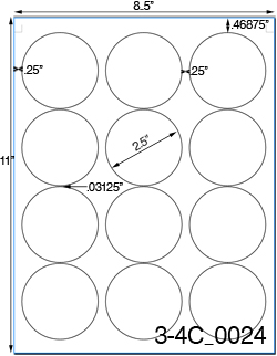 2 1/2 Diameter Round Removable White Label Sheet<BR><B>USUALLY SHIPS SAME DAY</B>