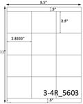 2.8333 x 2 1/2 Rectangle White Label Sheet<BR><B>USUALLY SHIPS SAME DAY</B>