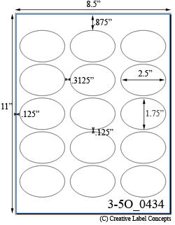 2 1/2 x 1 3/4 Oval <B>PREMIUM</B> Water-Resistant White Inkjet Label Sheet<BR><B>USUALLY SHIPS SAME DAY</B>