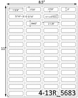 1 3/4 x 1/2 Rectangle  White Label Sheet<BR><B>USUALLY SHIPS SAME DAY</B>