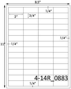 2 x 3/4 Rectangle White Label Sheet<BR><B>USUALLY SHIPS SAME DAY</B>