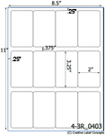 2 x 3 1/4 Rectangle Water-Resistant White Polyester Laser Label Sheet<BR><B>USUALLY SHIPS SAME DAY</B>