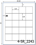 1.8 x 1.8 Rectangle Water-Resistant White Polyester Laser Label Sheet<BR><B>USUALLY SHIPS SAME DAY</B>