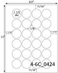 1 1/2 Diameter Round White Label Sheet; 24 up<BR><B>USUALLY SHIPS SAME DAY</B>