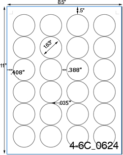 1 2/3 Diameter Round Removable White Label Sheet<BR><B>USUALLY SHIPS SAME DAY</B>
