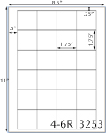 1 3/4 x 1 3/4 Square White Label Sheet<BR><B>USUALLY SHIPS SAME DAY</B>