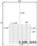 1 x 3/8 Rectangle White Label Sheet<BR><B>USUALLY SHIPS SAME DAY</B>