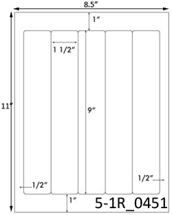 1 1/2 x 9 Rectangle  White Label Sheet<BR><B>USUALLY SHIPS SAME DAY</B>