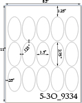 1 1/2 x 2 3/4  Oval White Label Sheet<BR><B>USUALLY SHIPS SAME DAY</B>