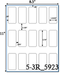 1 5/16 x 2 3/4 Rectangle Clear Gloss Polyester Laser Label Sheet<BR><B>USUALLY SHIPS SAME DAY</B>