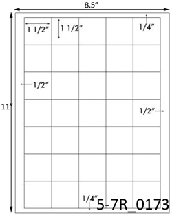 1 1/2 Square White Label Sheet<BR><B>USUALLY SHIPS SAME DAY</B>