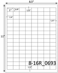 1 x 5/8 Rectangle White Label Sheet<BR><B>USUALLY SHIPS SAME DAY</B>