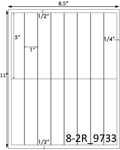 1 x 5 Rectangle White Label Sheet<BR><B>USUALLY SHIPS SAME DAY</B>