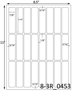 7/8 x 3 3/8 Rectangle White Label Sheet<BR><B>USUALLY SHIPS SAME DAY</B>