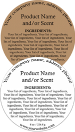 Round Customized Ingredient Label<BR>Design Style #1<BR><B>USUALLY SHIPS WITHIN 24-48 HRS</b>