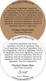 Round Customized Ingredient Label<BR>Design Style #3<BR><B>USUALLY SHIPS WITHIN 24-48 HRS</b>