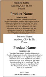 Square Customized Ingredient Label<BR>Design Style #6<BR><B>USUALLY SHIPS WITHIN 24-48 HRS</b>