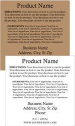 Square Customized Ingredient Label<BR>Design Style #7<BR><B>USUALLY SHIPS WITHIN 24-48 HRS</b>