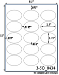 2 1/2 x 1 3/4  Oval White Label Sheet <BR><B>USUALLY SHIPS SAME DAY</B>