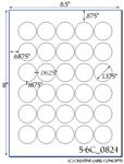 1.375 Diameter Round White Label Sheet  <BR><B>USUALLY SHIPS SAME DAY</B>
