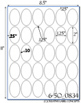 1 1/4 x 2 Oval Water-Resistant White Polyester Laser Label Sheet<BR><B>USUALLY SHIPS SAME DAY</B>