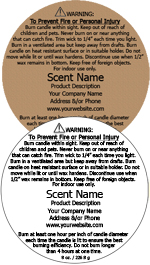 Round Customized Candle Warning Label<BR>Design Style #3<BR><B>USUALLY SHIPS WITHIN 24-48 HRS</b>